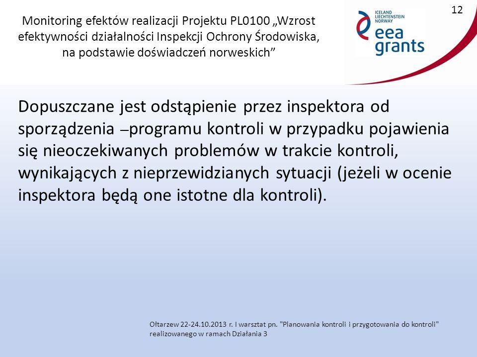 """Monitoring efektów realizacji Projektu PL0100 """"Wzrost efektywności działalności Inspekcji Ochrony Środowiska, na podstawie doświadczeń norweskich Dopuszczane jest odstąpienie przez inspektora od sporządzenia programu kontroli w przypadku pojawienia się nieoczekiwanych problemów w trakcie kontroli, wynikających z nieprzewidzianych sytuacji (jeżeli w ocenie inspektora będą one istotne dla kontroli)."""