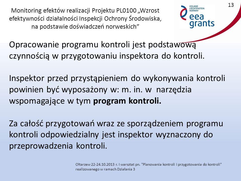 """Monitoring efektów realizacji Projektu PL0100 """"Wzrost efektywności działalności Inspekcji Ochrony Środowiska, na podstawie doświadczeń norweskich Opracowanie programu kontroli jest podstawową czynnością w przygotowaniu inspektora do kontroli."""