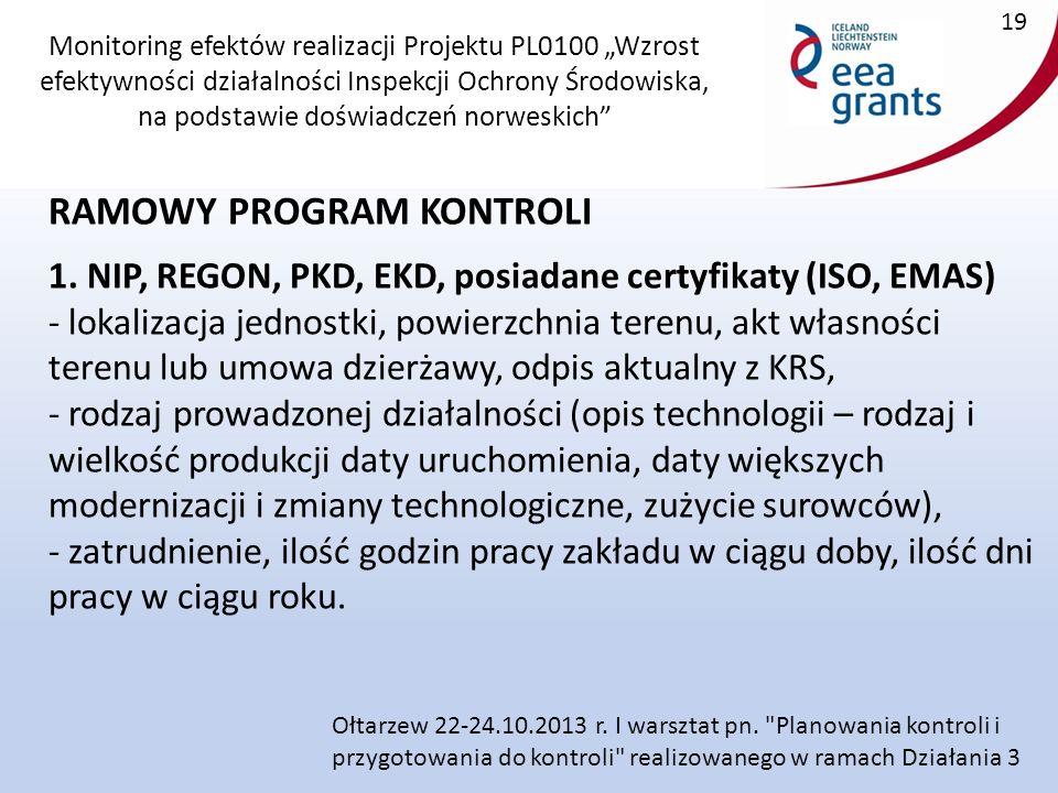 """Monitoring efektów realizacji Projektu PL0100 """"Wzrost efektywności działalności Inspekcji Ochrony Środowiska, na podstawie doświadczeń norweskich RAMOWY PROGRAM KONTROLI 1."""