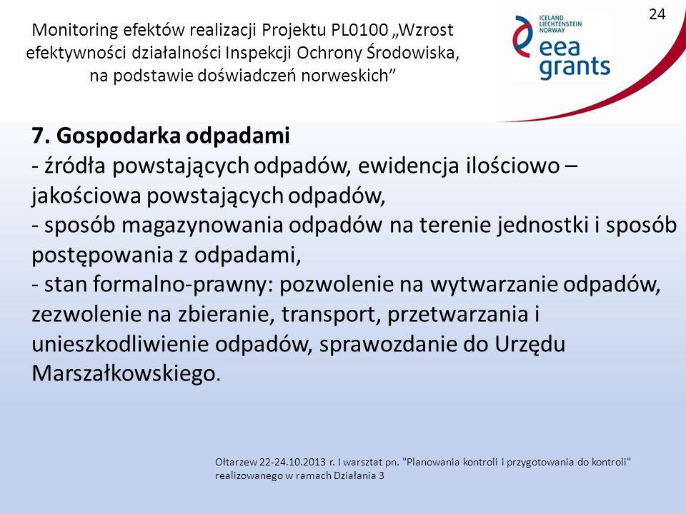 """Monitoring efektów realizacji Projektu PL0100 """"Wzrost efektywności działalności Inspekcji Ochrony Środowiska, na podstawie doświadczeń norweskich 7."""