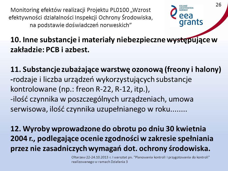 """Monitoring efektów realizacji Projektu PL0100 """"Wzrost efektywności działalności Inspekcji Ochrony Środowiska, na podstawie doświadczeń norweskich 10."""