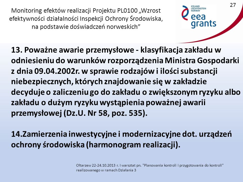 """Monitoring efektów realizacji Projektu PL0100 """"Wzrost efektywności działalności Inspekcji Ochrony Środowiska, na podstawie doświadczeń norweskich 13."""