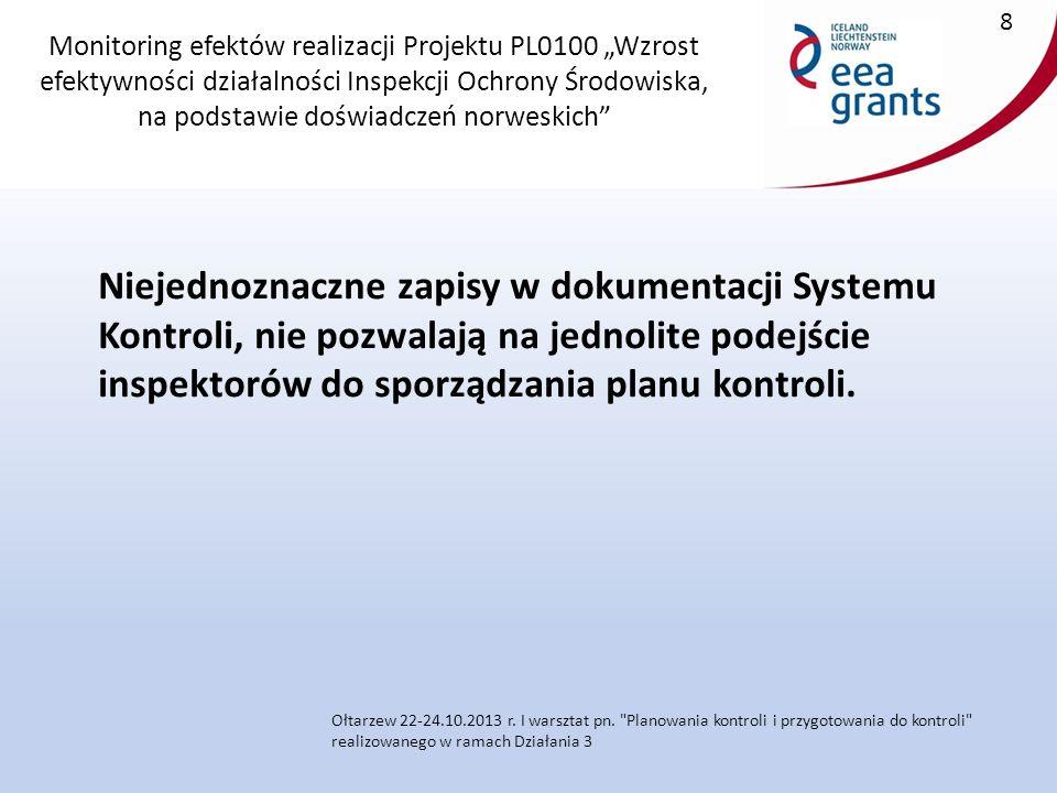 """Monitoring efektów realizacji Projektu PL0100 """"Wzrost efektywności działalności Inspekcji Ochrony Środowiska, na podstawie doświadczeń norweskich Niejednoznaczne zapisy w dokumentacji Systemu Kontroli, nie pozwalają na jednolite podejście inspektorów do sporządzania planu kontroli."""