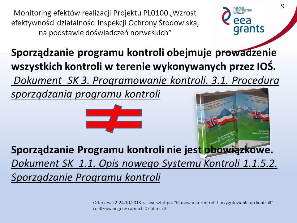 """Monitoring efektów realizacji Projektu PL0100 """"Wzrost efektywności działalności Inspekcji Ochrony Środowiska, na podstawie doświadczeń norweskich Sporządzanie programu kontroli obejmuje prowadzenie wszystkich kontroli w terenie wykonywanych przez IOŚ."""