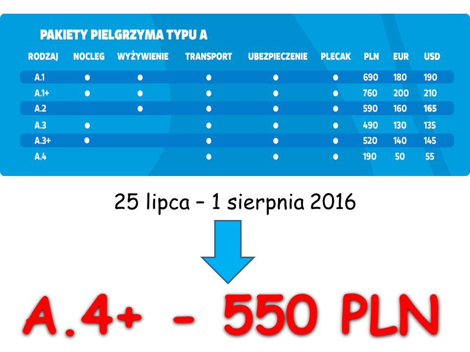 A.4+ - 550 PLN 25 lipca – 1 sierpnia 2016