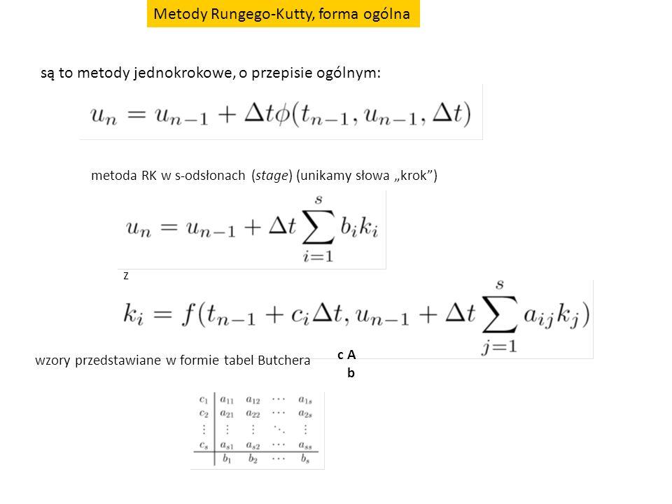 """Metody Rungego-Kutty, forma ogólna są to metody jednokrokowe, o przepisie ogólnym: metoda RK w s-odsłonach (stage) (unikamy słowa """"krok"""") z wzory prze"""