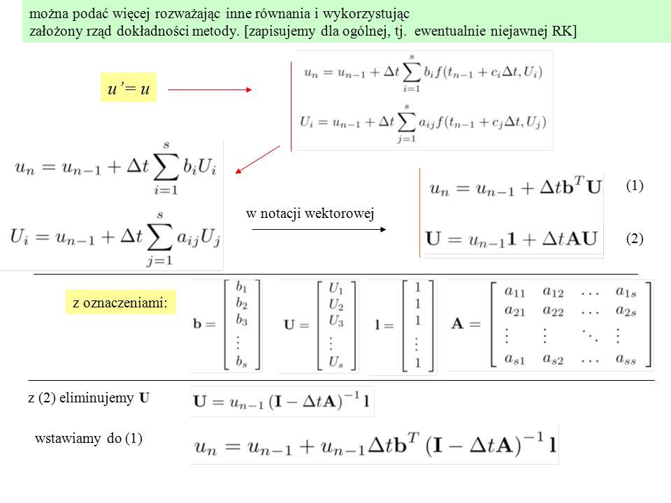 można podać więcej rozważając inne równania i wykorzystując założony rząd dokładności metody.