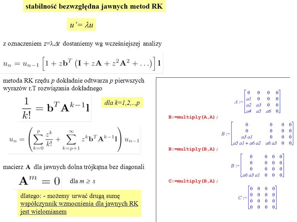 stabilność bezwzględna jawnych metod RK u'= u z oznaczeniem z= t dostaniemy wg wcześniejszej analizy metoda RK rzędu p dokładnie odtwarza p pierwszych wyrazów r.T rozwiązania dokładnego macierz A dla jawnych dolna trójkątna bez diagonali dla m  s dlatego: - możemy urwać drugą sumę współczynnik wzmocnienia dla jawnych RK jest wielomianem dla k=1,2,..,p