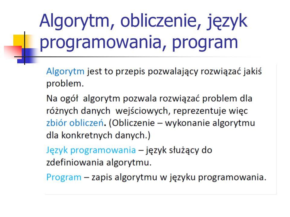 Algorytm, obliczenie, język programowania, program