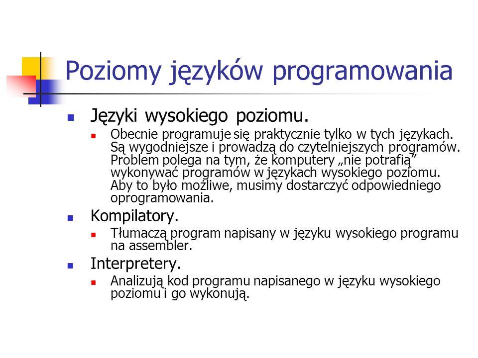 Poziomy języków programowania Języki wysokiego poziomu. Obecnie programuje się praktycznie tylko w tych językach. Są wygodniejsze i prowadzą do czytel
