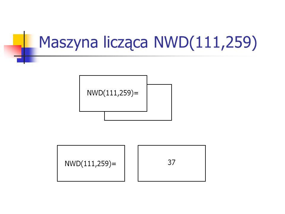 Maszyna licząca NWD(111,259) NWD(111,259)= 37