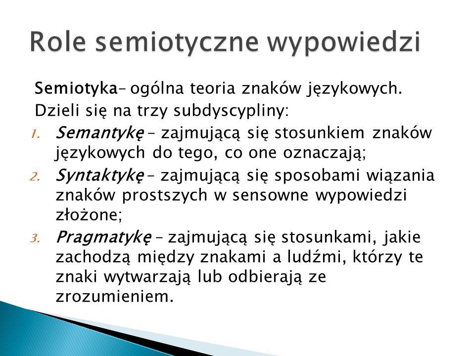 Semiotyka– ogólna teoria znaków językowych.Dzieli się na trzy subdyscypliny: 1.