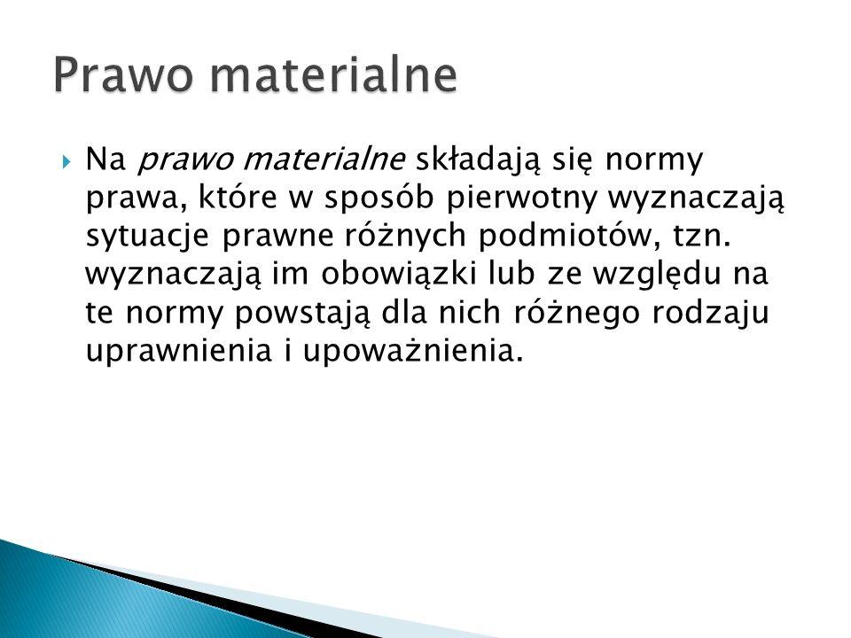  Na prawo materialne składają się normy prawa, które w sposób pierwotny wyznaczają sytuacje prawne różnych podmiotów, tzn.