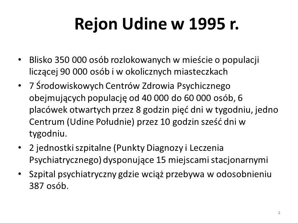 4 Rejon Udine w 1995 r. Blisko 350 000 osób rozlokowanych w mieście o populacji liczącej 90 000 osób i w okolicznych miasteczkach 7 Środowiskowych Cen