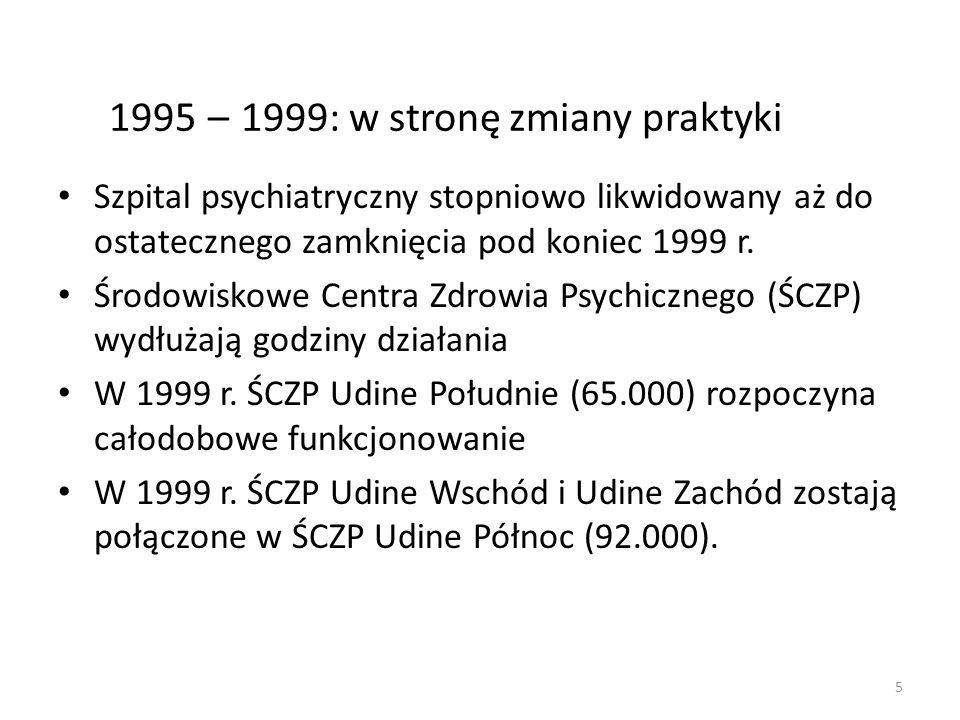 5 1995 – 1999: w stronę zmiany praktyki Szpital psychiatryczny stopniowo likwidowany aż do ostatecznego zamknięcia pod koniec 1999 r. Środowiskowe Cen