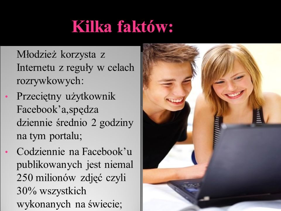 Młodzież korzysta z Internetu z reguły w celach rozrywkowych: Przeciętny użytkownik Facebook'a,spędza dziennie średnio 2 godziny na tym portalu; Codziennie na Facebook'u publikowanych jest niemal 250 milionów zdjęć czyli 30% wszystkich wykonanych na świecie; Młodzież korzysta z Internetu z reguły w celach rozrywkowych: Przeciętny użytkownik Facebook'a,spędza dziennie średnio 2 godziny na tym portalu; Codziennie na Facebook'u publikowanych jest niemal 250 milionów zdjęć czyli 30% wszystkich wykonanych na świecie;
