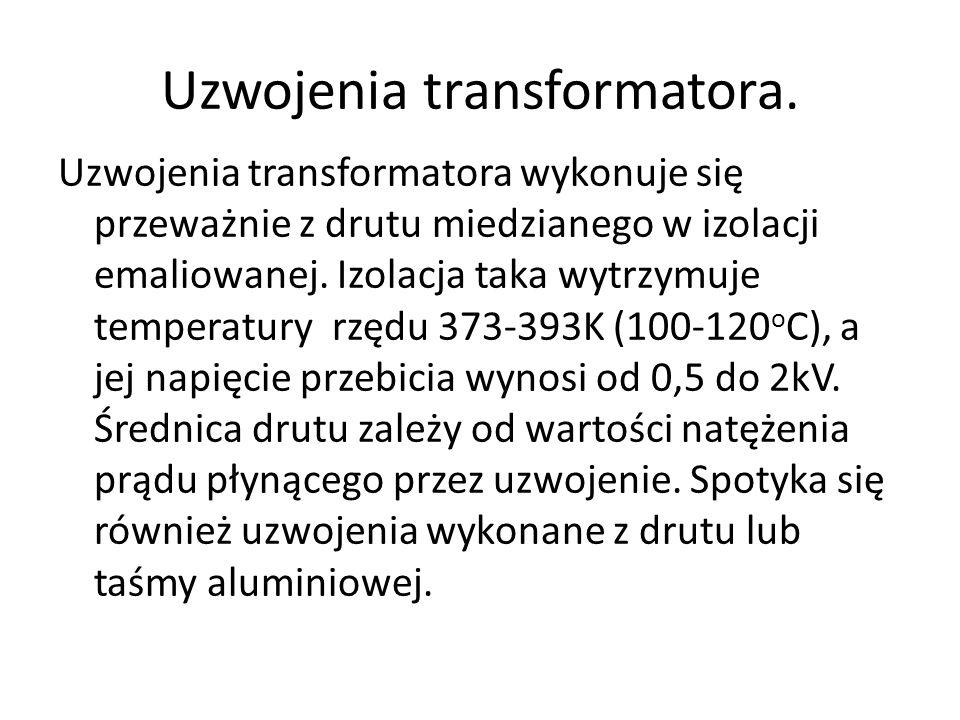 Uzwojenia transformatora. Uzwojenia transformatora wykonuje się przeważnie z drutu miedzianego w izolacji emaliowanej. Izolacja taka wytrzymuje temper