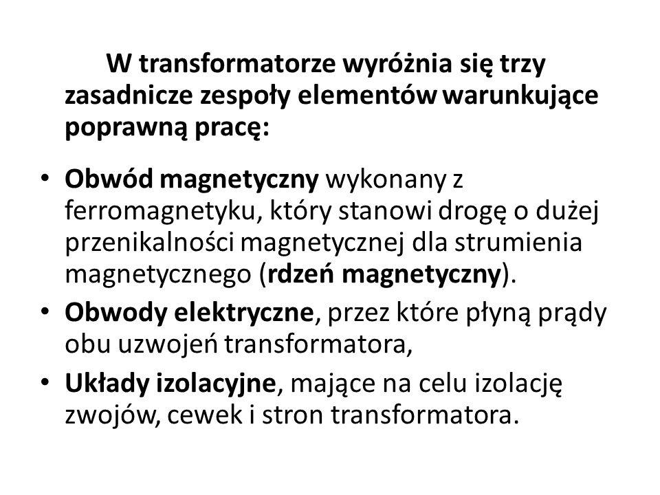 W transformatorze wyróżnia się trzy zasadnicze zespoły elementów warunkujące poprawną pracę: Obwód magnetyczny wykonany z ferromagnetyku, który stanow