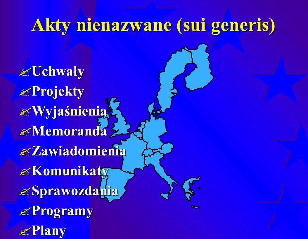 Akty nienazwane (sui generis)  Uchwały  Projekty  Wyjaśnienia  Memoranda  Zawiadomienia  Komunikaty  Sprawozdania  Programy  Plany