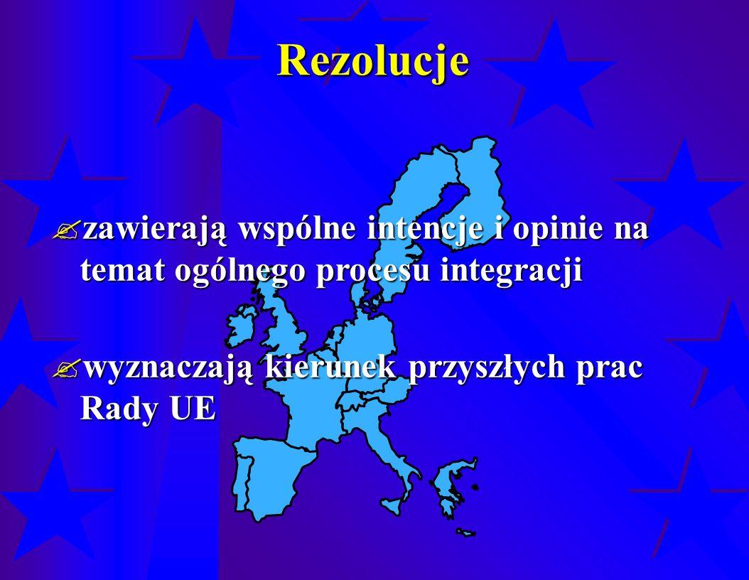Rezolucje  zawierają wspólne intencje i opinie na temat ogólnego procesu integracji  wyznaczają kierunek przyszłych prac Rady UE