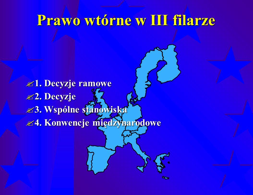 Prawo wtórne w III filarze  1. Decyzje ramowe  2.