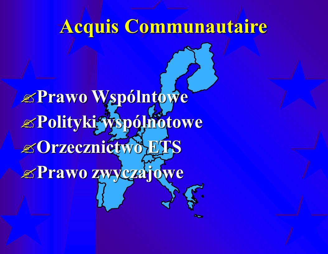 Acquis Communautaire  Prawo Wspólntowe  Polityki wspólnotowe  Orzecznictwo ETS  Prawo zwyczajowe