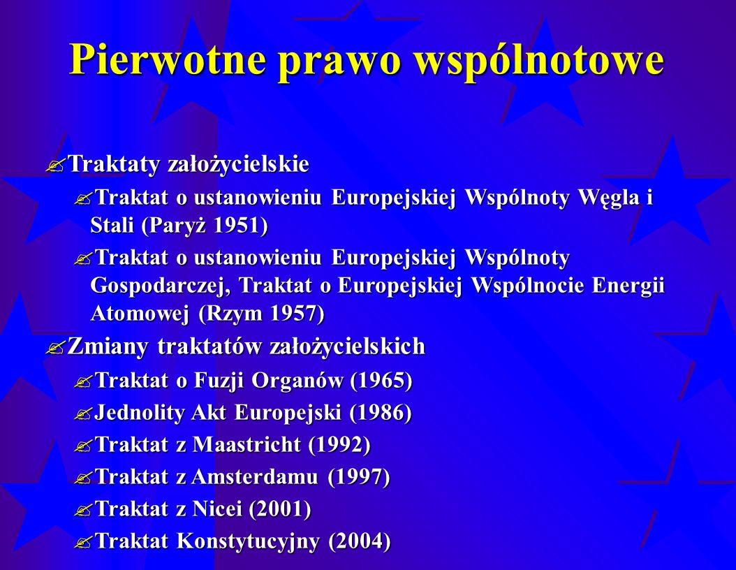 Pierwotne prawo wspólnotowe  Traktaty założycielskie  Traktat o ustanowieniu Europejskiej Wspólnoty Węgla i Stali (Paryż 1951)  Traktat o ustanowieniu Europejskiej Wspólnoty Gospodarczej, Traktat o Europejskiej Wspólnocie Energii Atomowej (Rzym 1957)  Zmiany traktatów założycielskich  Traktat o Fuzji Organów (1965)  Jednolity Akt Europejski (1986)  Traktat z Maastricht (1992)  Traktat z Amsterdamu (1997)  Traktat z Nicei (2001)  Traktat Konstytucyjny (2004)