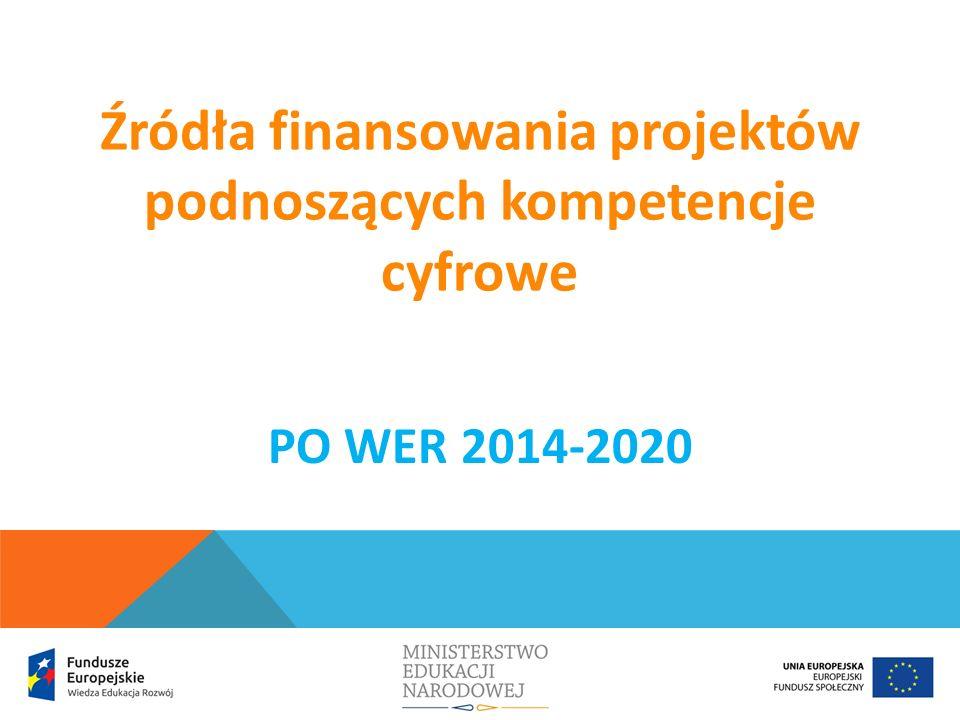 Zgodnie z zapisami Wytycznych w zakresie realizacji przedsięwzięć z udziałem środków Europejskiego Funduszu Społecznego w obszarze edukacji na lata 2014-2020 wsparcie RPO na rzecz zwiększenia wykorzystania technologii informacyjno-komunikacyjnych (TIK) oraz rozwijania kompetencji informatycznych skierowane jest w szczególności do: publicznych i niepublicznych szkół podstawowych, gimnazjalnych, ponadgimnazjalnych, szkół dla dorosłych lub placówek systemu oświaty prowadzących kształcenie ogólne; szkół zawodowych i placówek systemu oświaty prowadzących kształcenie zawodowe, w zakresie prowadzonego przez nie nauczania w oparciu o podstawę programową kształcenia ogólnego, uczniów i słuchaczy szkół i placówek systemu oświaty; nauczycieli.