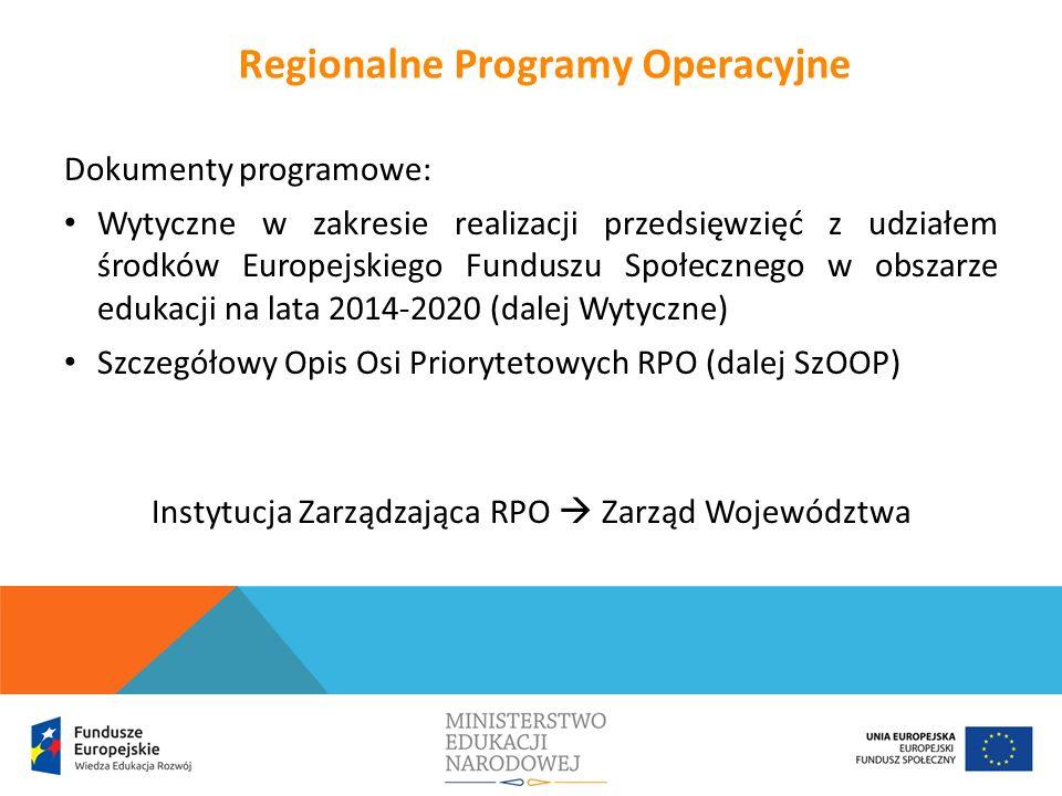 Dokumenty programowe: Wytyczne w zakresie realizacji przedsięwzięć z udziałem środków Europejskiego Funduszu Społecznego w obszarze edukacji na lata 2014-2020 (dalej Wytyczne) Szczegółowy Opis Osi Priorytetowych RPO (dalej SzOOP) Instytucja Zarządzająca RPO  Zarząd Województwa Regionalne Programy Operacyjne