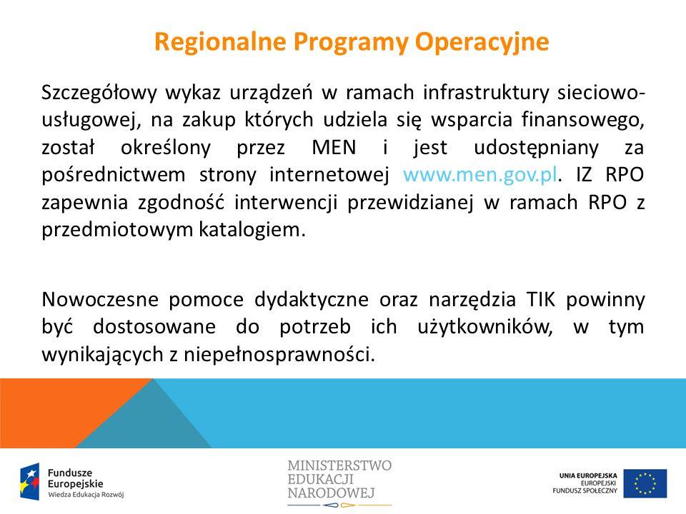 Szczegółowy wykaz urządzeń w ramach infrastruktury sieciowo- usługowej, na zakup których udziela się wsparcia finansowego, został określony przez MEN i jest udostępniany za pośrednictwem strony internetowej www.men.gov.pl.