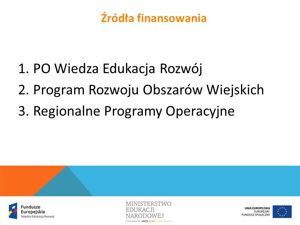 1.PO Wiedza Edukacja Rozwój 2.Program Rozwoju Obszarów Wiejskich 3.Regionalne Programy Operacyjne Źródła finansowania