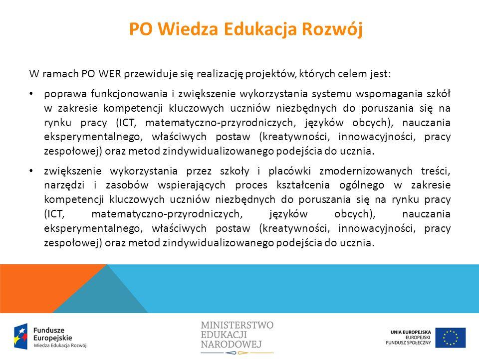 W ramach PO WER przewiduje się realizację projektów, których celem jest: poprawa funkcjonowania i zwiększenie wykorzystania systemu wspomagania szkół