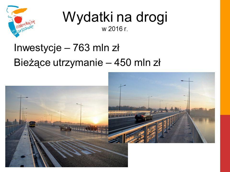 Wydatki na drogi w 2016 r. Inwestycje – 763 mln zł Bieżące utrzymanie – 450 mln zł