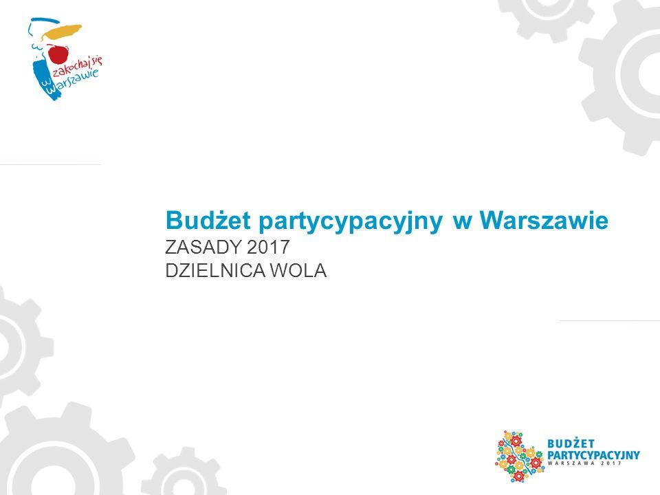 Budżet partycypacyjny w Warszawie ZASADY 2017 DZIELNICA WOLA