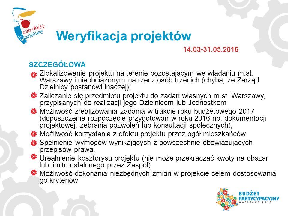 Weryfikacja projektów 14.03-31.05.2016 SZCZEGÓŁOWA Zlokalizowanie projektu na terenie pozostającym we władaniu m.st. Warszawy i nieobciążonym na rzecz