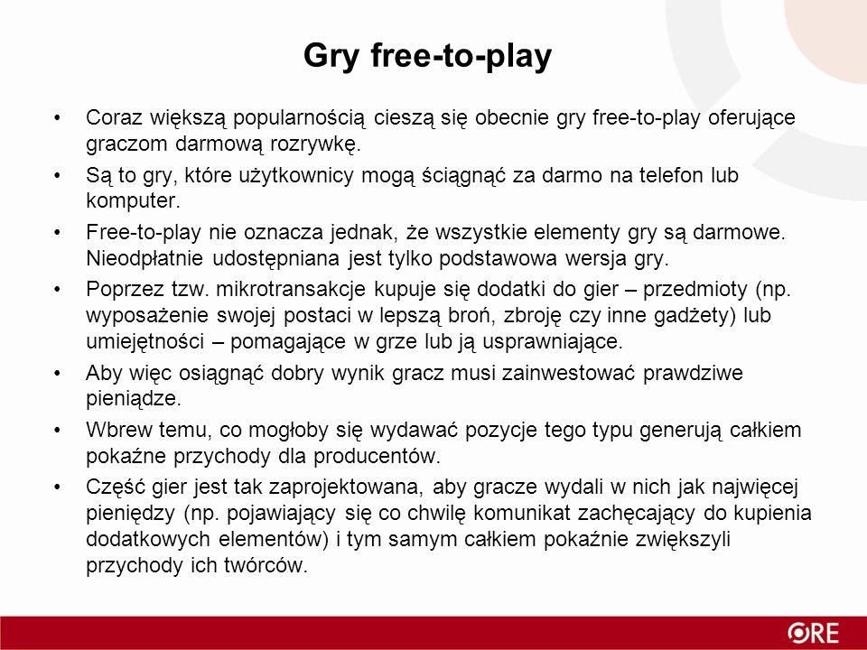Gry free-to-play Coraz większą popularnością cieszą się obecnie gry free-to-play oferujące graczom darmową rozrywkę.
