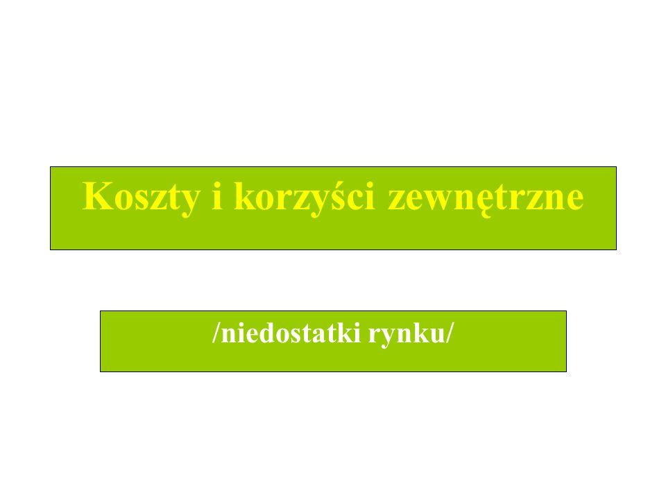 dr Zofia Skrzypczak Wydział Zarządzania UW 2 Koszty i korzyści zewnętrzne /niedostatki rynku/