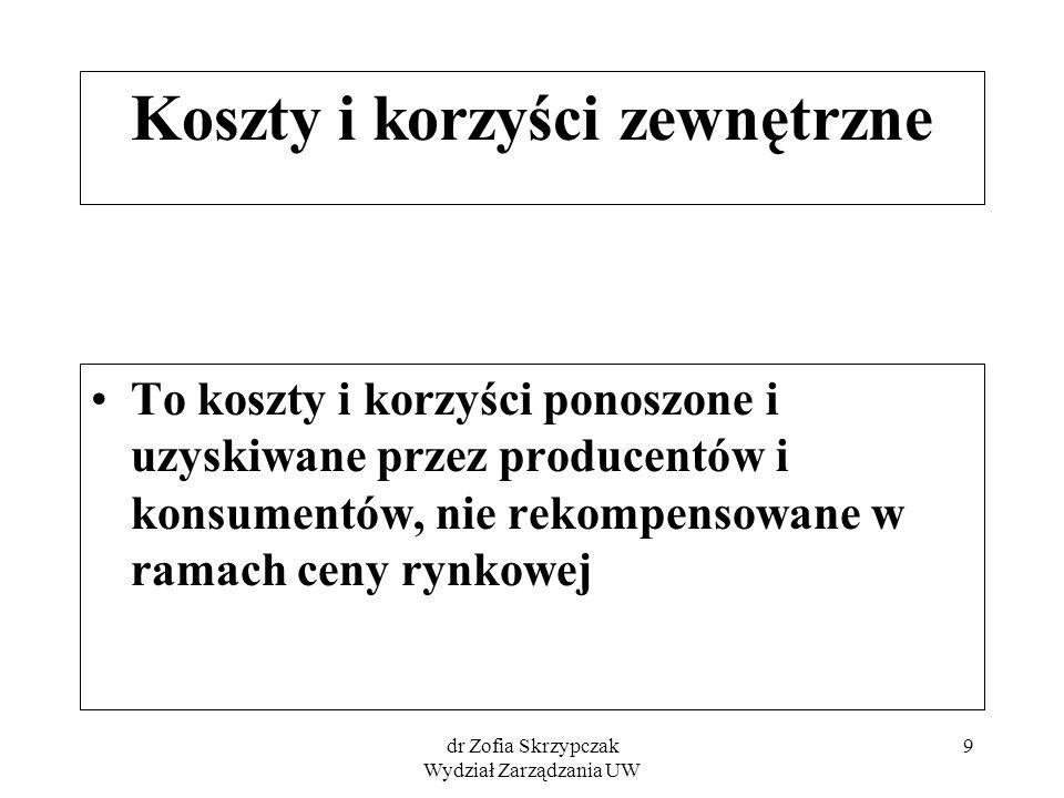 dr Zofia Skrzypczak Wydział Zarządzania UW 9 Koszty i korzyści zewnętrzne To koszty i korzyści ponoszone i uzyskiwane przez producentów i konsumentów,