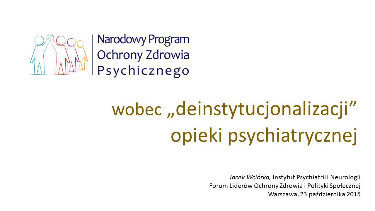 """wobec """"deinstytucjonalizacji"""" opieki psychiatrycznej Jacek Wciórka, Instytut Psychiatrii i Neurologii Forum Liderów Ochrony Zdrowia i Polityki Społecz"""