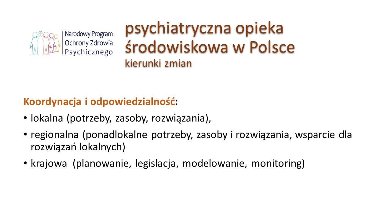 psychiatryczna opieka środowiskowa w Polsce kierunki zmian Koordynacja i odpowiedzialność: lokalna (potrzeby, zasoby, rozwiązania), regionalna (ponadl