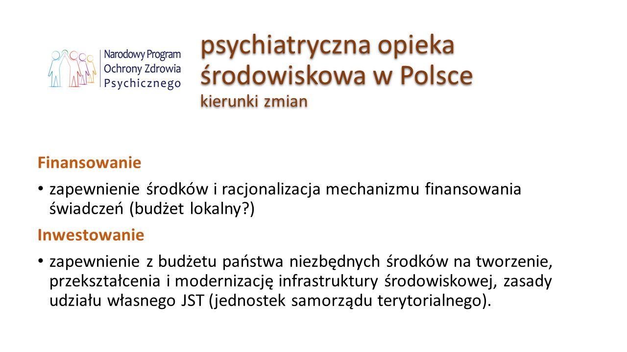 psychiatryczna opieka środowiskowa w Polsce kierunki zmian Finansowanie zapewnienie środków i racjonalizacja mechanizmu finansowania świadczeń (budżet