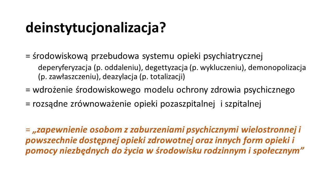 deinstytucjonalizacja? = środowiskową przebudowa systemu opieki psychiatrycznej deperyferyzacja (p. oddaleniu), degettyzacja (p. wykluczeniu), demonop