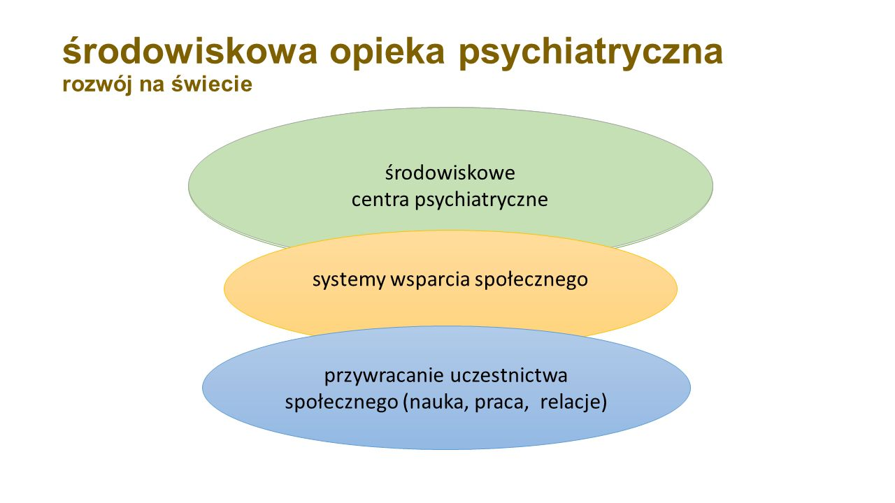 środowiskowa opieka psychiatryczna rozwój na świecie dysfunkcjonalny azyl, instytucja totalna, wielki szpital psychiatryczny (odległy, zamknięty, mono