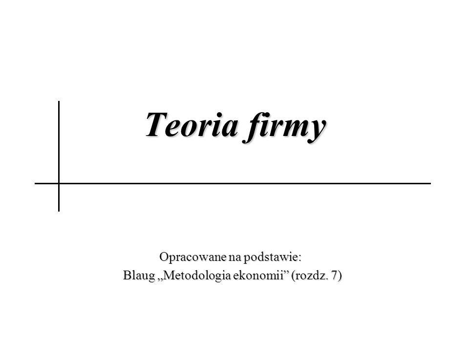 """Teoria firmy Opracowane na podstawie: Blaug """"Metodologia ekonomii (rozdz."""