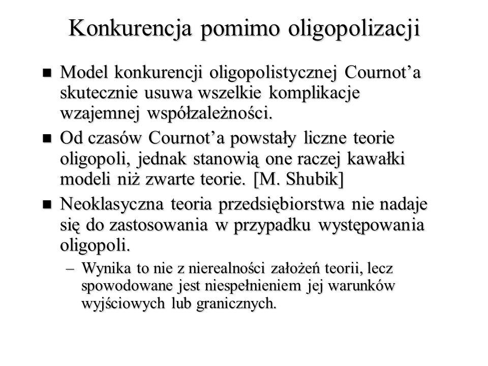 Konkurencja pomimo oligopolizacji Model konkurencji oligopolistycznej Cournot'a skutecznie usuwa wszelkie komplikacje wzajemnej współzależności.