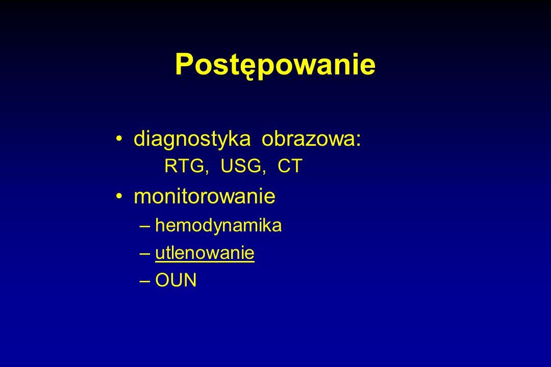Postępowanie diagnostyka obrazowa: RTG, USG, CT monitorowanie –hemodynamika –utlenowanie –OUN