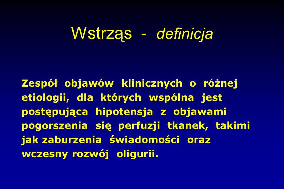 Wstrząs - definicja Zespół objawów klinicznych o różnej etiologii, dla których wspólna jest postępująca hipotensja z objawami pogorszenia się perfuzji