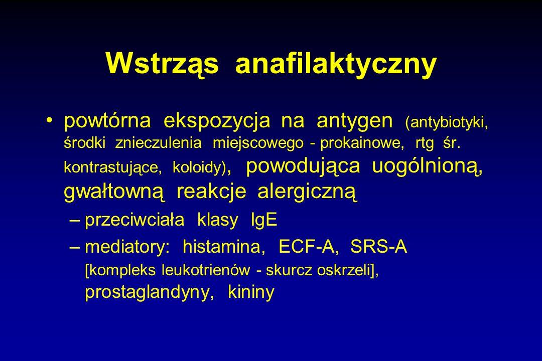 Wstrząs anafilaktyczny powtórna ekspozycja na antygen (antybiotyki, środki znieczulenia miejscowego - prokainowe, rtg śr. kontrastujące, koloidy), pow