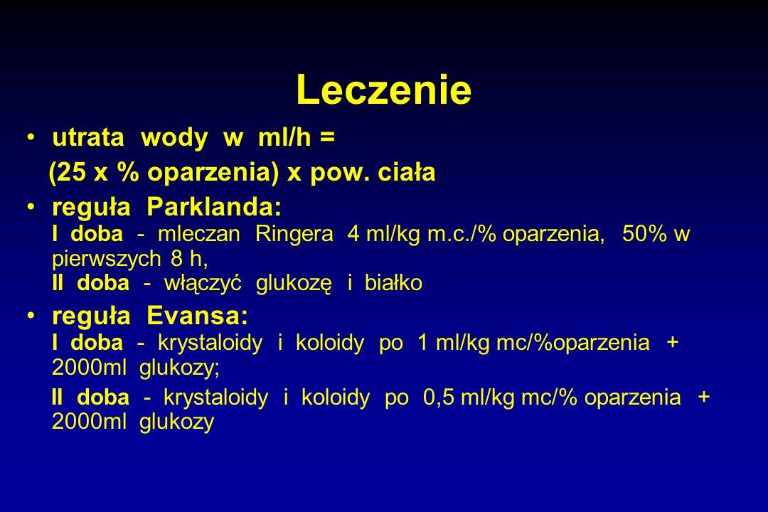 Leczenie utrata wody w ml/h = (25 x % oparzenia) x pow. ciała reguła Parklanda: I doba - mleczan Ringera 4 ml/kg m.c./% oparzenia, 50% w pierwszych 8