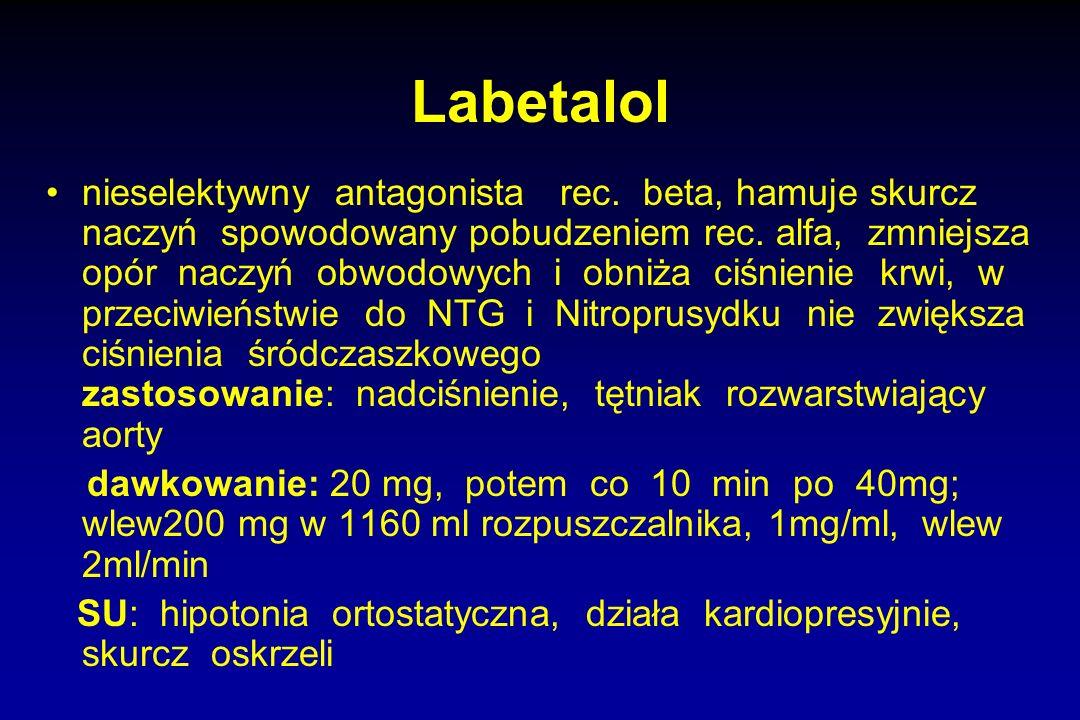 Labetalol nieselektywny antagonista rec. beta, hamuje skurcz naczyń spowodowany pobudzeniem rec. alfa, zmniejsza opór naczyń obwodowych i obniża ciśni